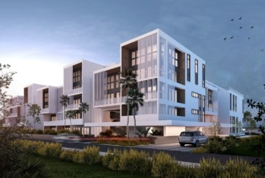 The Flats at the Village exterior rendering