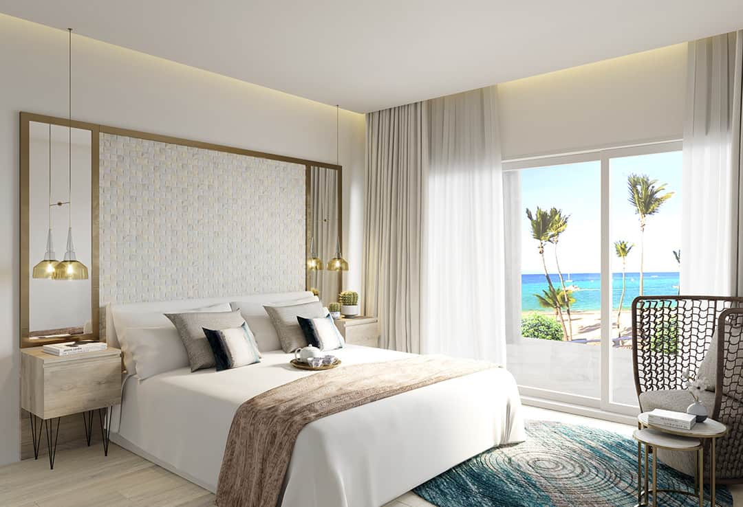 Playa Coral interiors 1 bed bedroom with beach view